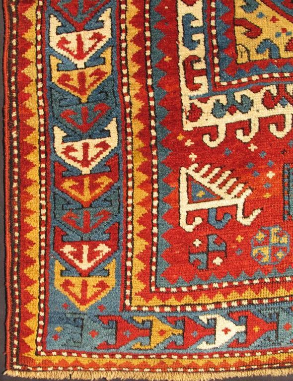 Antique Russian Caucasian Kazak Rug 2