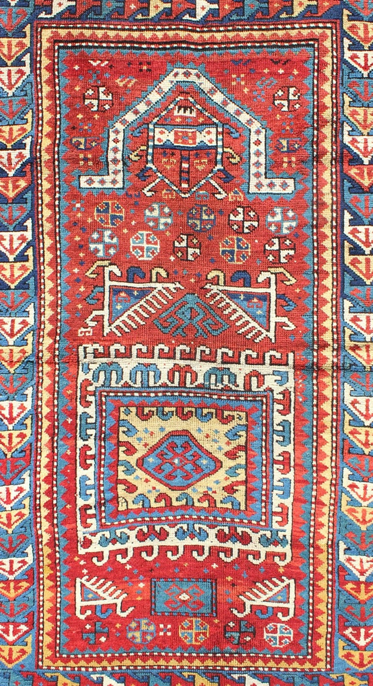 Hand-Knotted Antique Russian Caucasian Kazak Rug For Sale