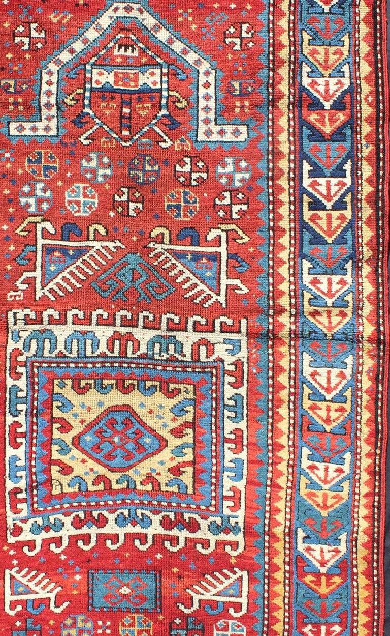 Antique Russian Caucasian Kazak Rug In Excellent Condition For Sale In Atlanta, GA