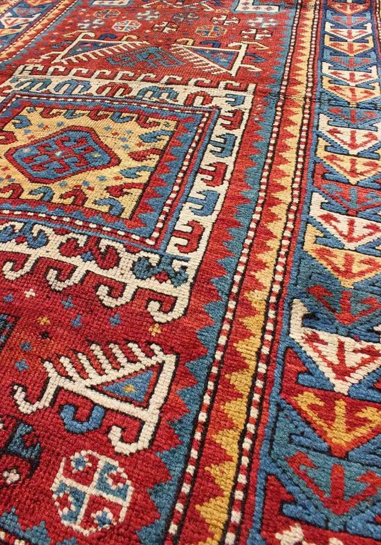 Late 19th Century Antique Russian Caucasian Kazak Rug For Sale