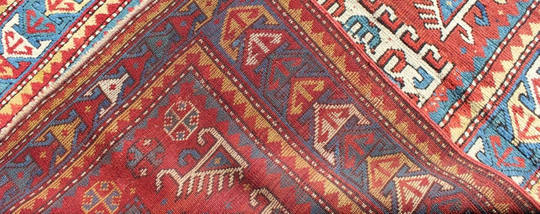 Wool Antique Russian Caucasian Kazak Rug For Sale