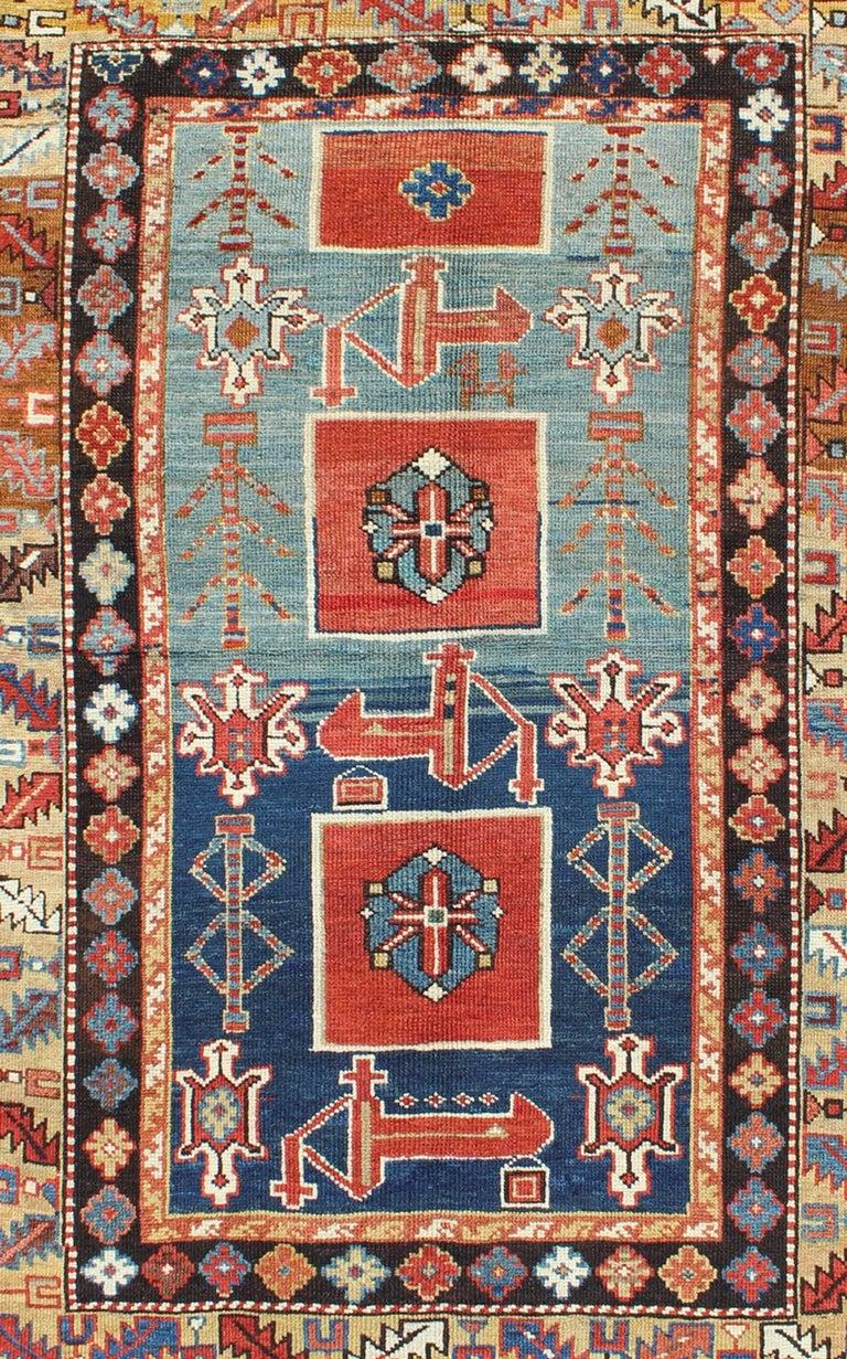 Hand-Knotted Antique Caucasian Qaraqashli Rug For Sale