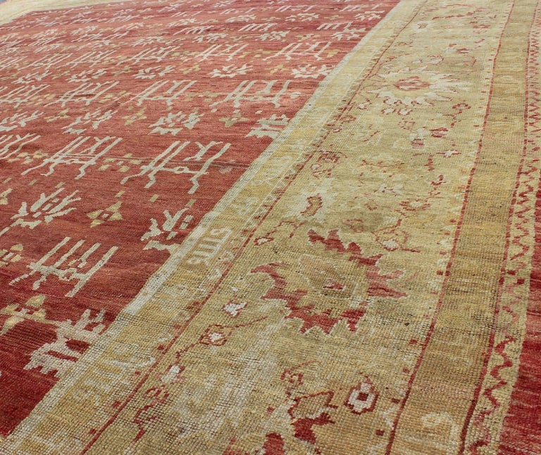 19th Century Large Antique Oushak Carpet For Sale