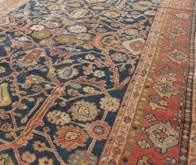 Breathtaking Large Geometric Red 10x12 Bakhtiari Persian: Antique Persian Sultanabad Gallery Rug With All Over
