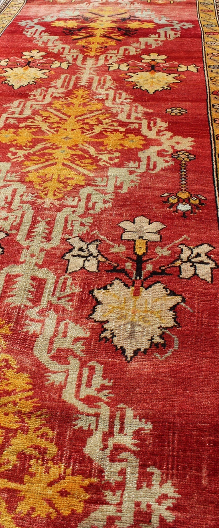 Wool Antique Turkish Oushak Runner For Sale