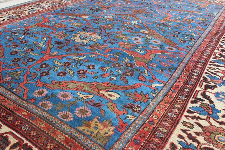 Amazing Antique Persian Sultanabad Rug in a Unique Persian Blue Background For Sale 2