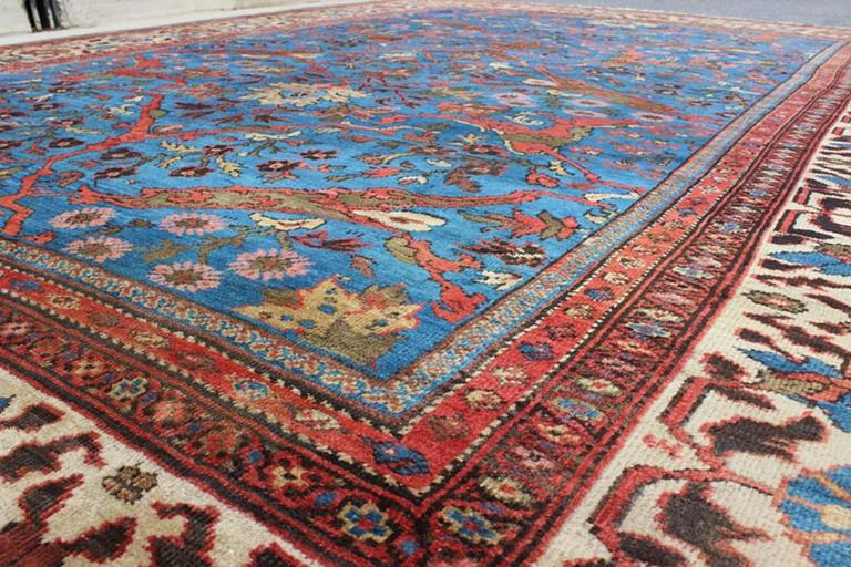 Amazing Antique Persian Sultanabad Rug in a Unique Persian Blue Background For Sale 1