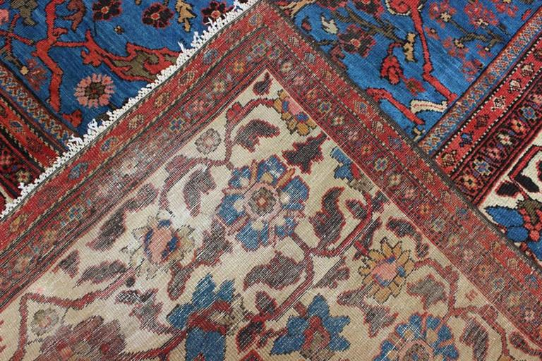 Wool Amazing Antique Persian Sultanabad Rug in a Unique Persian Blue Background For Sale