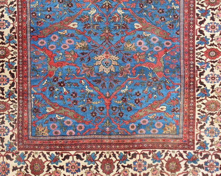 Amazing Antique Persian Sultanabad Rug in a Unique Persian Blue Background In Good Condition For Sale In Atlanta, GA