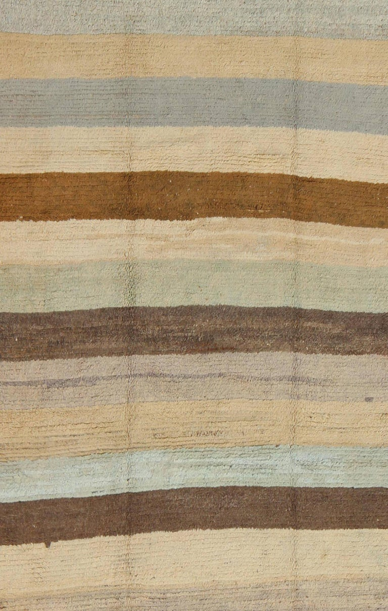 Turkish Antique Tulu Rug with Modern-esque Multiple Bands of Colors   For Sale