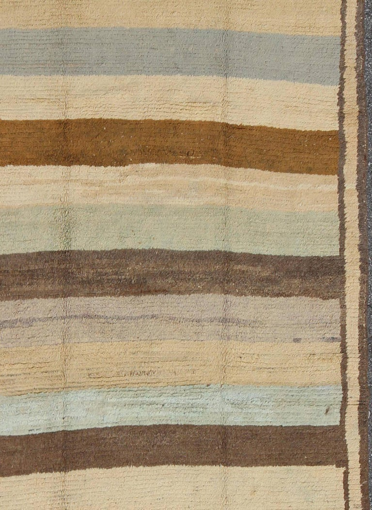 Antique Tulu Rug with Modern-esque Multiple Bands of Colors   In Excellent Condition For Sale In Atlanta, GA