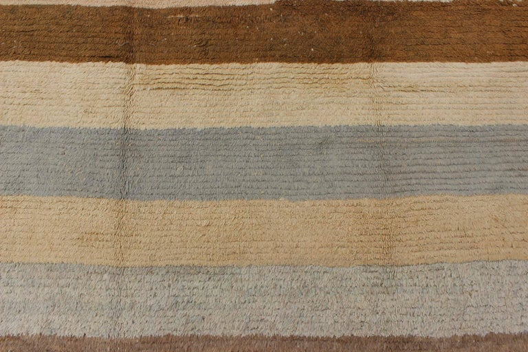 Wool Antique Tulu Rug with Modern-esque Multiple Bands of Colors   For Sale
