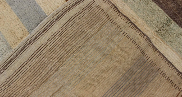 Antique Tulu Rug with Modern-esque Multiple Bands of Colors   For Sale 1