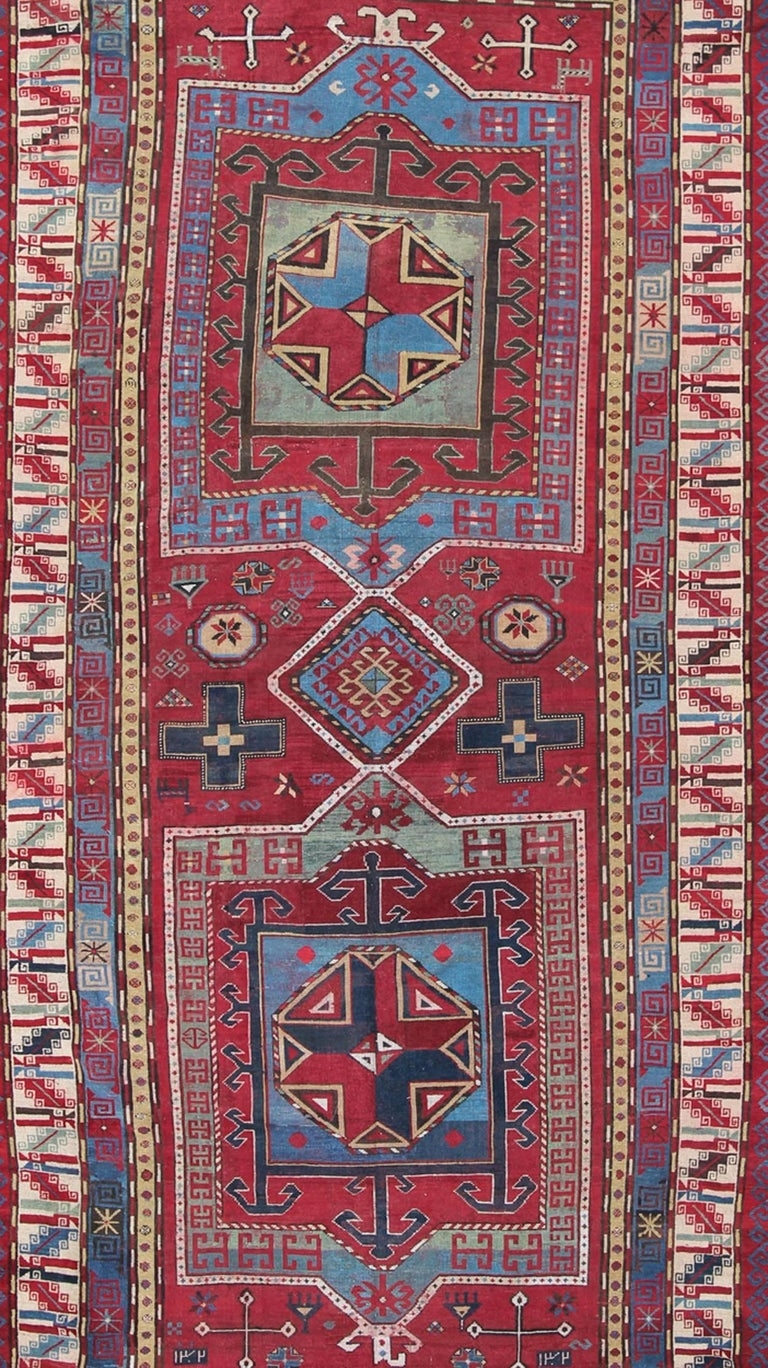 Antique Caucasus Kazak Carpet With Dual Geometric