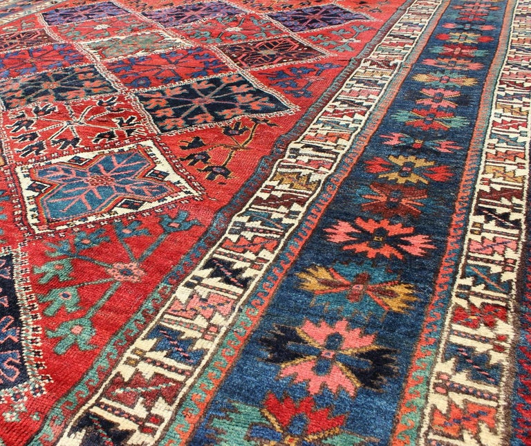 Qashqai Shiraz Rug: Antique Persian Qashqai Rug With Tulips, Diamond Patterns