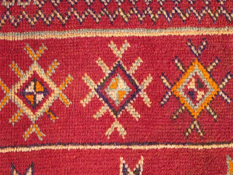 Antique Moroccan Rug With Red Field And Colorful Geometric