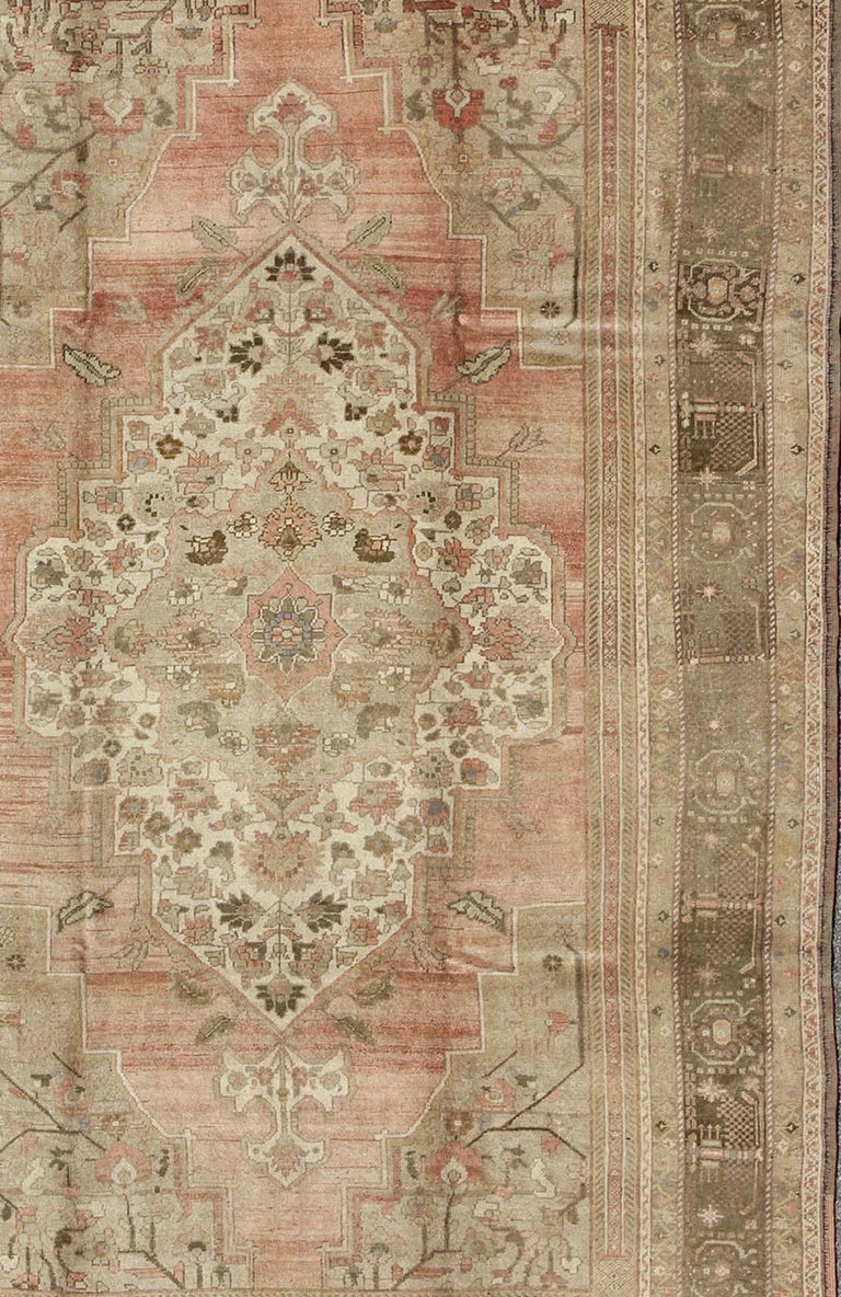 Vintage Turkish Oushak Carpet With Faint Salmon Field And