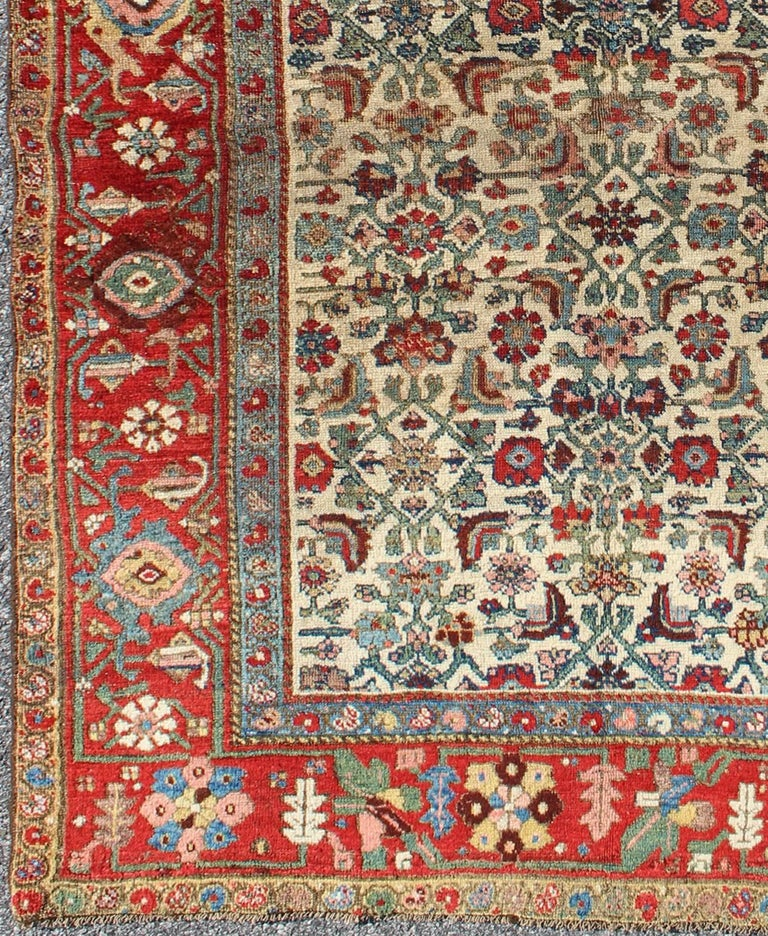 Antique Persian Bidjar Carpet With Ivory Rose Green