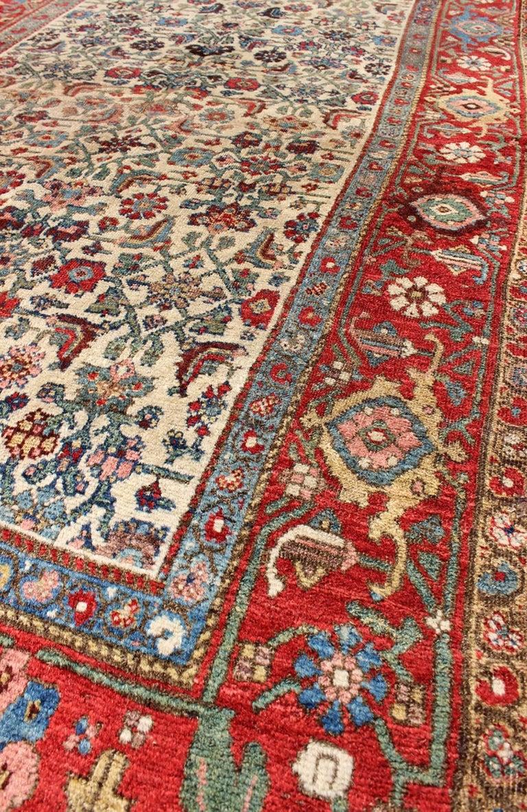 Antique Persian Bidjar Carpet With Ivory Rose Green