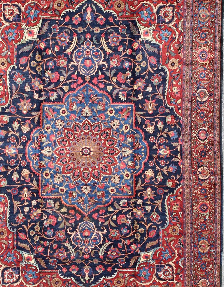 Classic Antique Persian Tabriz Rug with Medallion in Blue and Red In Good Condition For Sale In Atlanta, GA