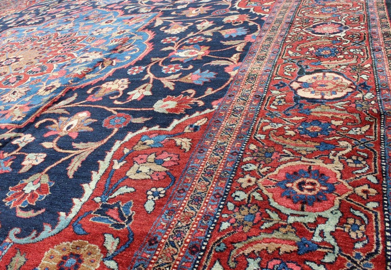 Early 20th Century Classic Antique Persian Tabriz Rug with Medallion in Blue and Red For Sale