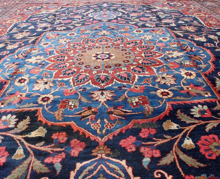 Wool Classic Antique Persian Tabriz Rug with Medallion in Blue and Red For Sale