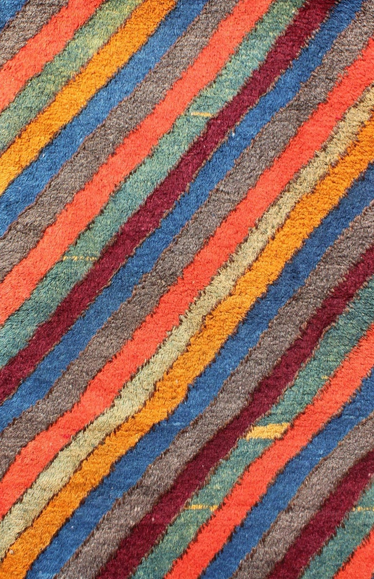 Colorful Vintage Turkish Tulu Rug With Horizontal Stripes