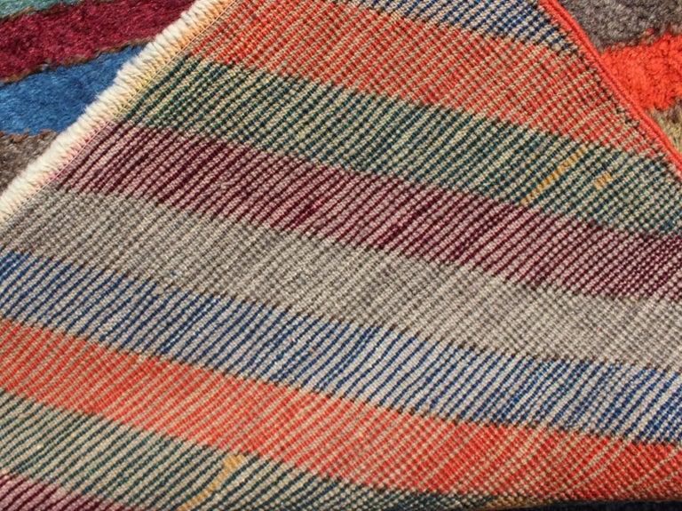 Colorful Vintage Turkish Tulu Rug With Horizontal Stripes