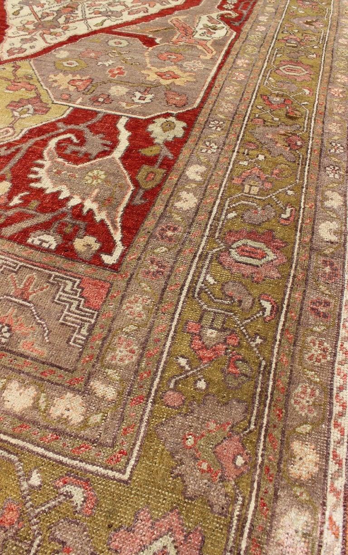 Unique Turkish Oushak Carpet With Medallion Design And