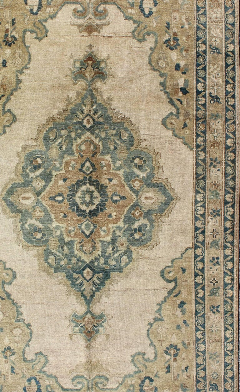 Muted Turkish Oushak Rug With Floral Design In Blue Light