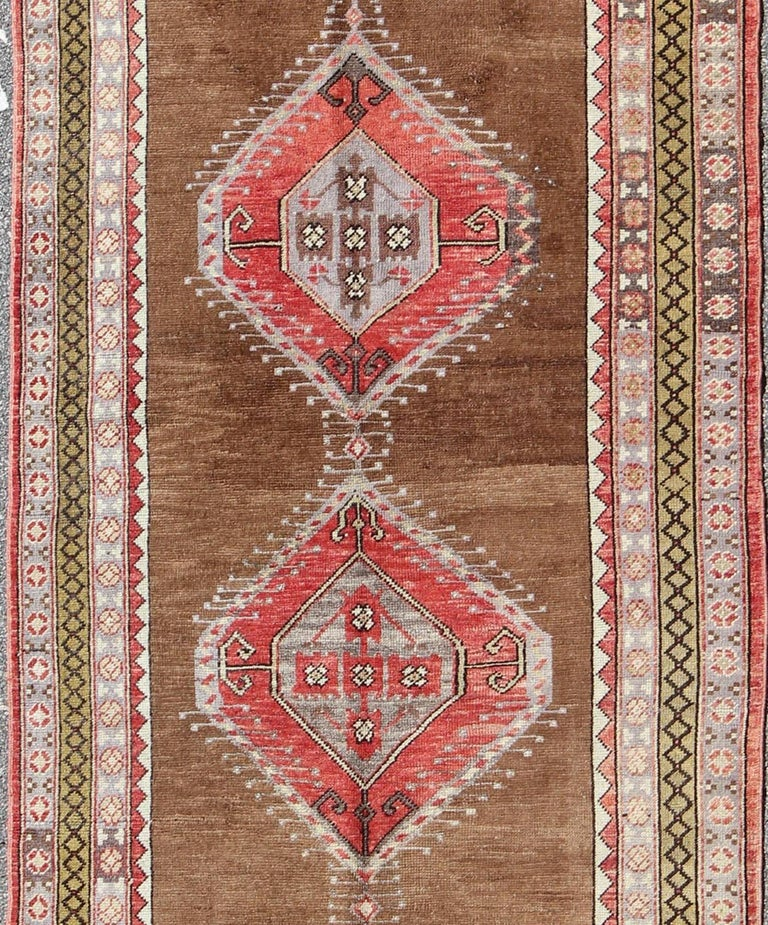 Turkish Ground Rug: Vintage Turkish Oushak Rug With Three Large Medallions And