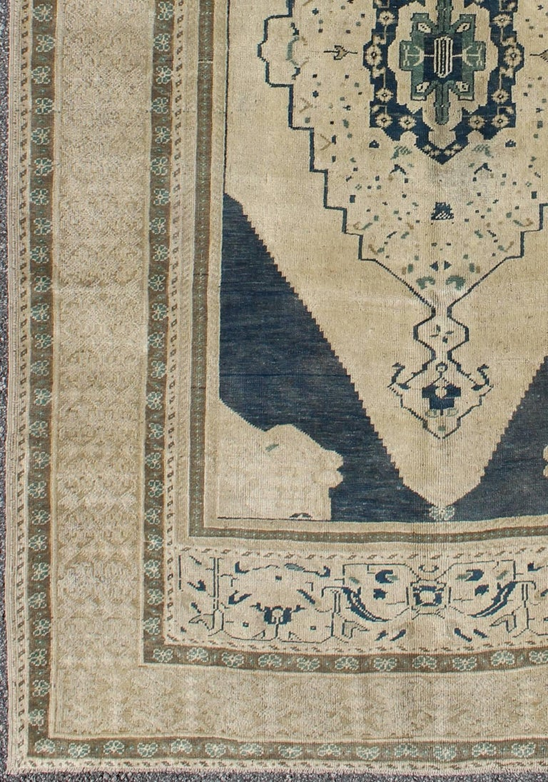 Turkish Oushak Rug With Multi Layered Medallion And Floral