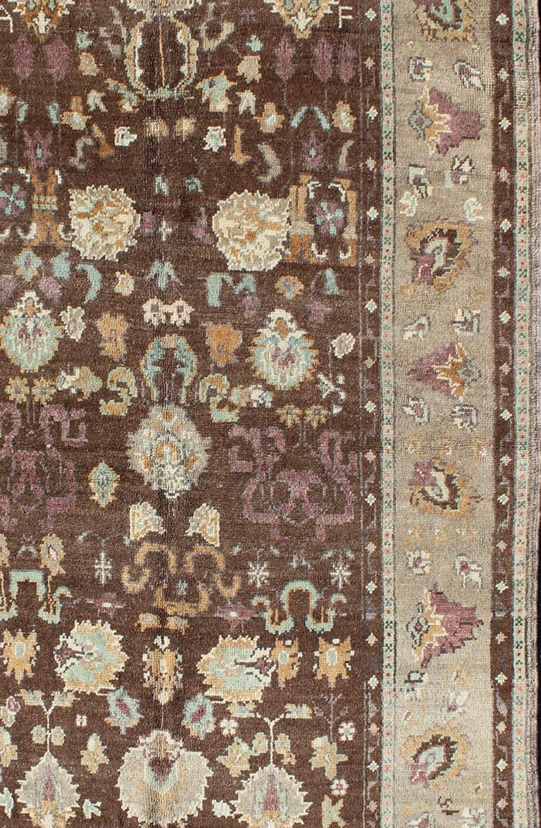 Vintage Oushak Rug With Brown And Gray For Sale At 1stdibs