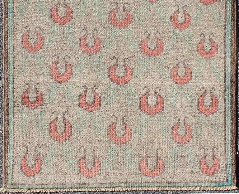 Mid-century vintage Turkish Tulu rug with all-over paisley design in teal and gray, rug en-1008, country of origin type: Turkey Tulu, circa mid-20th century