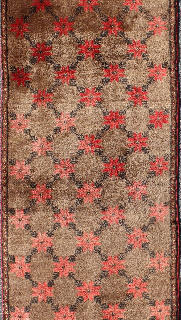 Hand-Knotted Turkish Tulu Runner with Poinsettias Design in Brown, Charcoal, Red and Ivory For Sale