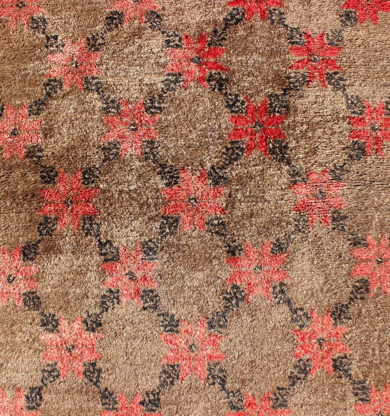 Wool Turkish Tulu Runner with Poinsettias Design in Brown, Charcoal, Red and Ivory For Sale