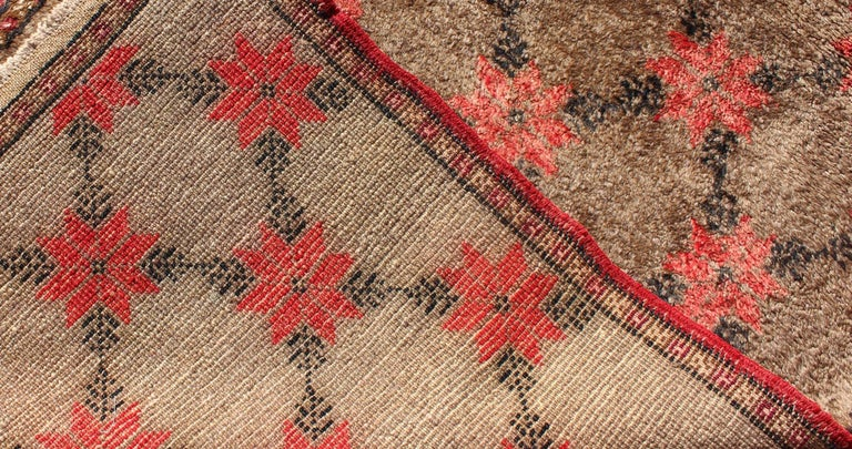 Turkish Tulu Runner with Poinsettias Design in Brown, Charcoal, Red and Ivory For Sale 1