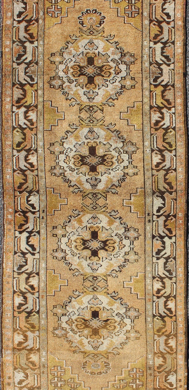 Hand-Knotted Vintage Turkish Oushak Runner with Medallions in Taupe, Yellow and Brown For Sale