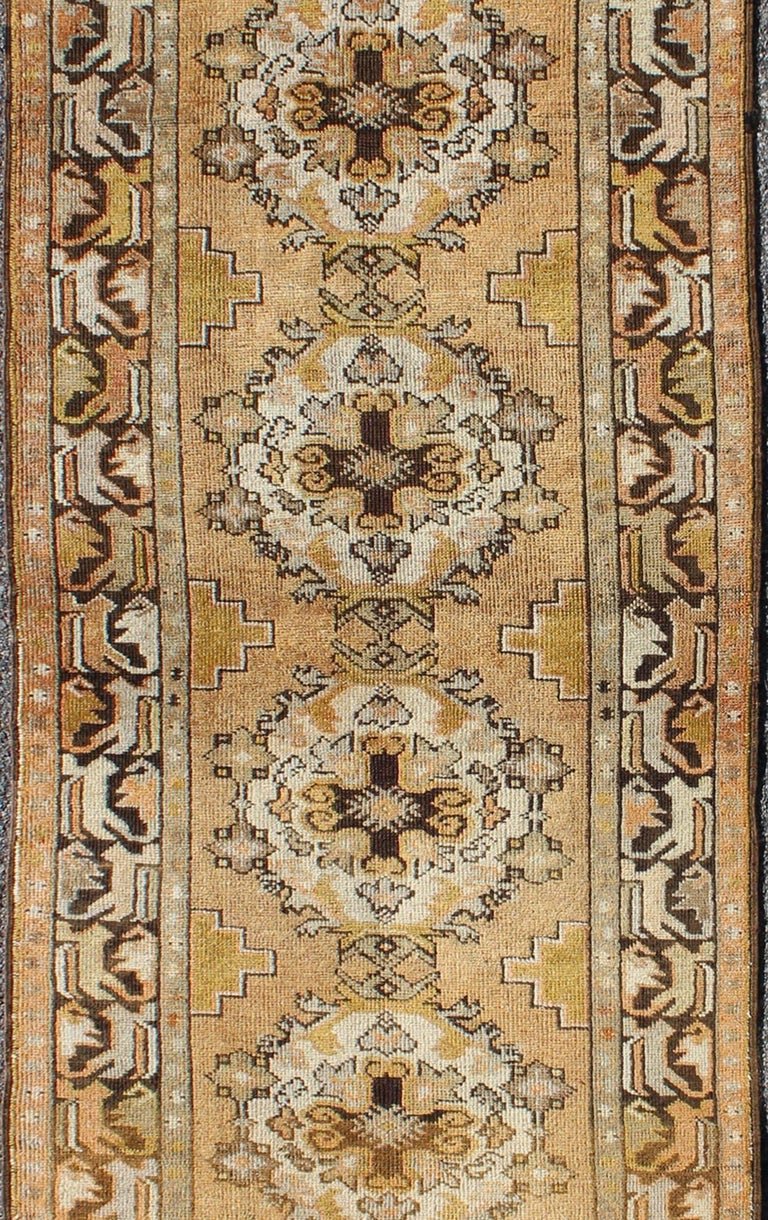 Vintage Turkish Oushak Runner with Medallions in Taupe, Yellow and Brown In Excellent Condition For Sale In Atlanta, GA