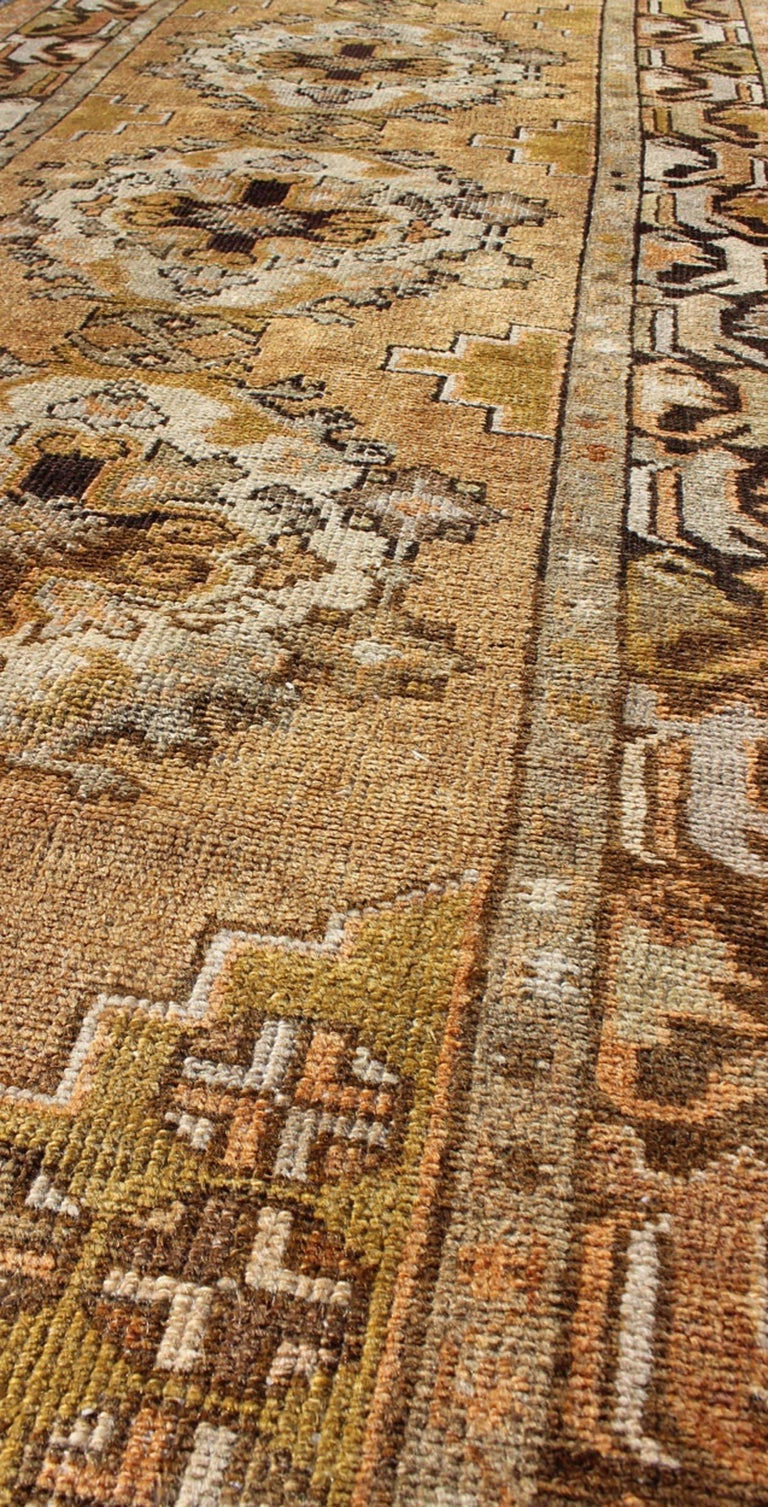 20th Century Vintage Turkish Oushak Runner with Medallions in Taupe, Yellow and Brown For Sale