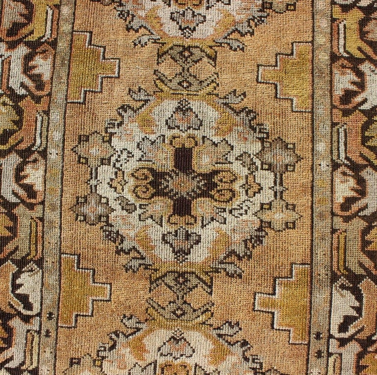 Wool Vintage Turkish Oushak Runner with Medallions in Taupe, Yellow and Brown For Sale