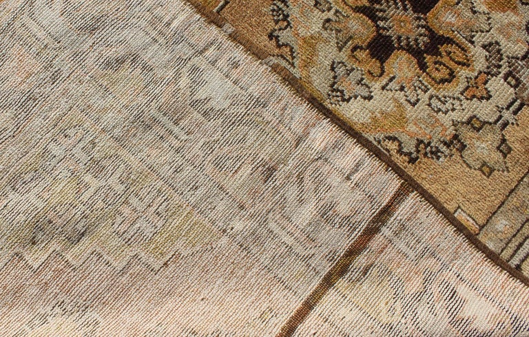 Vintage Turkish Oushak Runner with Medallions in Taupe, Yellow and Brown For Sale 1