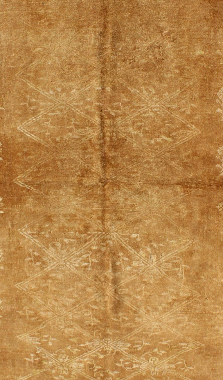 Oushak Light Brown Vintage Turkish Rug with Lattice Pattern in Light Brown and Ivory For Sale