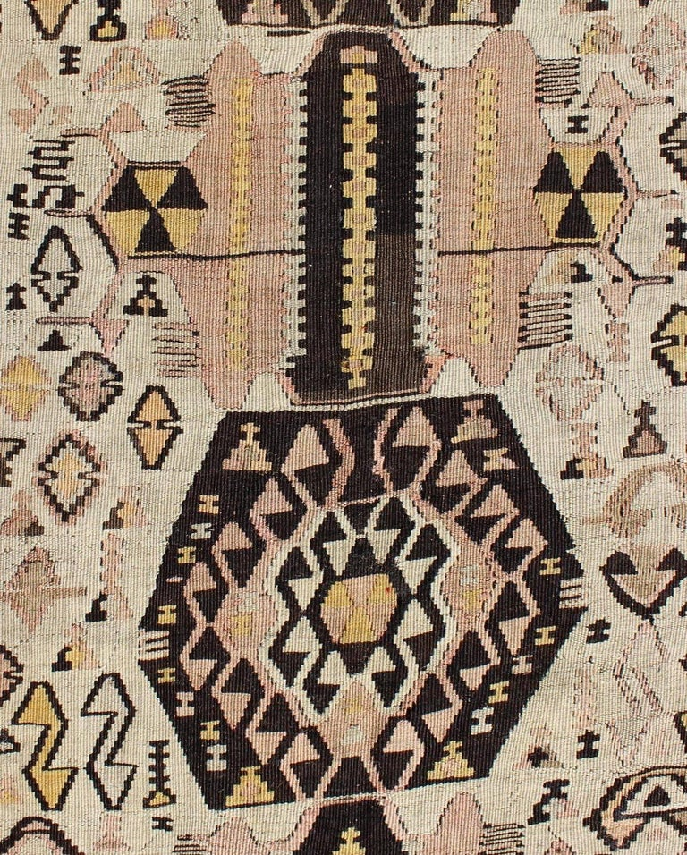 Vintage Turkish Kilim Gallery Rug With Tribal Design In