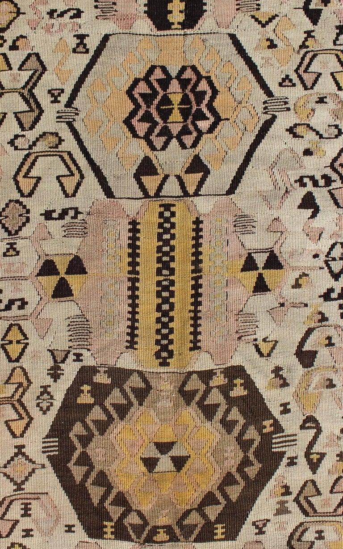 Vintage Turkish Kilim Gallery Rug With Tribal Design In