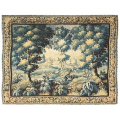17th Century Antique Tapestry with Woodland Scene and Floral Border in Blue Tone