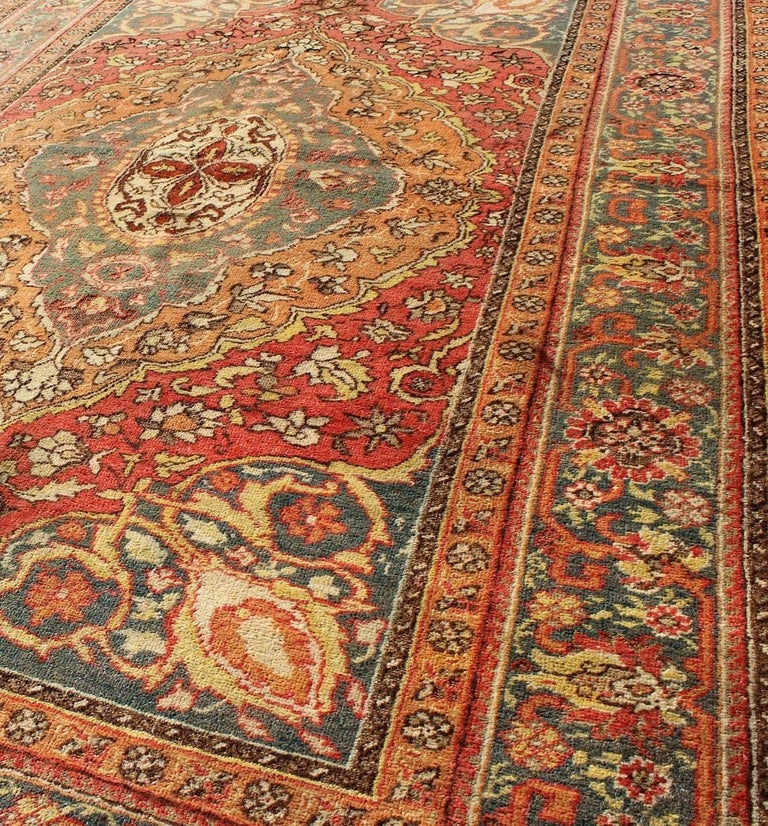Antique Turkish Sivas Rug With Multi-Layered Medallion In