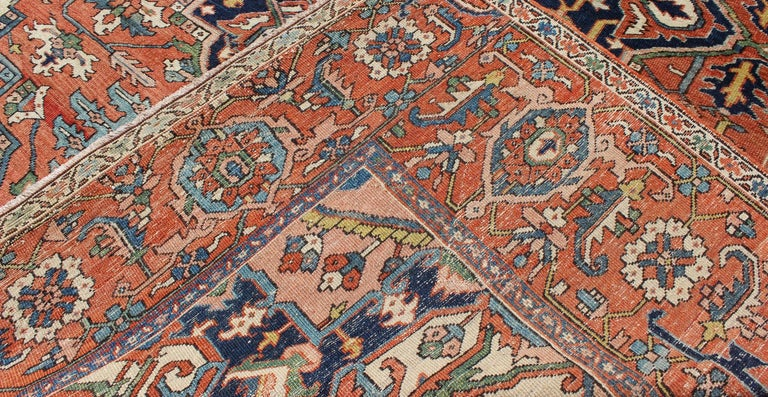 Antique Persian Serapi Rug with Bold Medallion in Orange, Navy Blue and Green For Sale 3