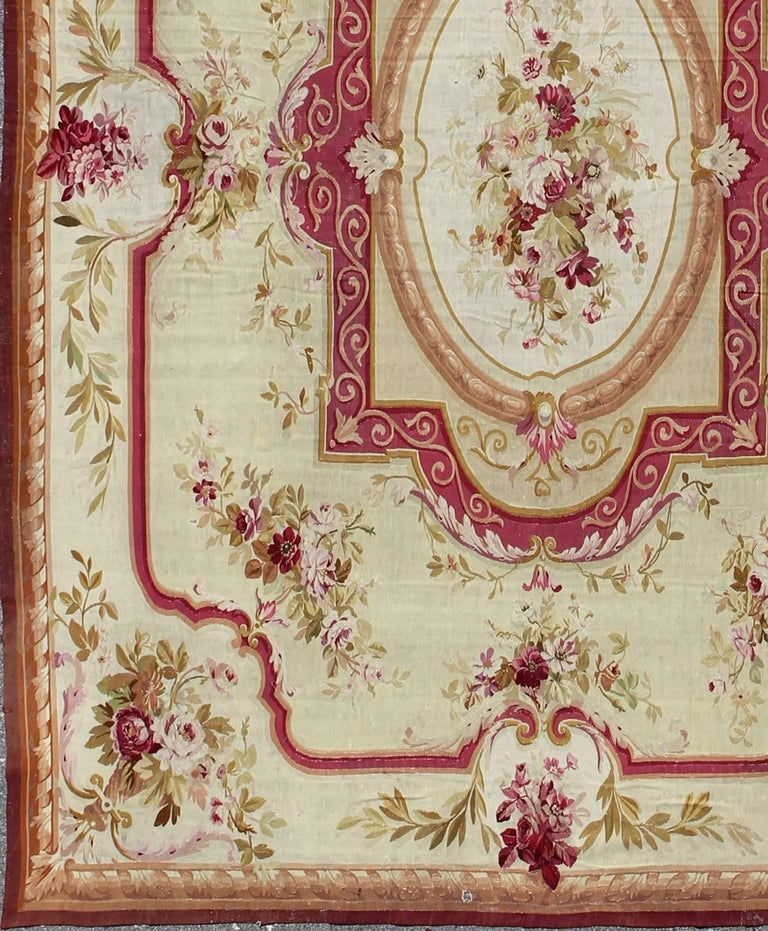 Antique French Aubusson With Romantic Rose Bouquets In