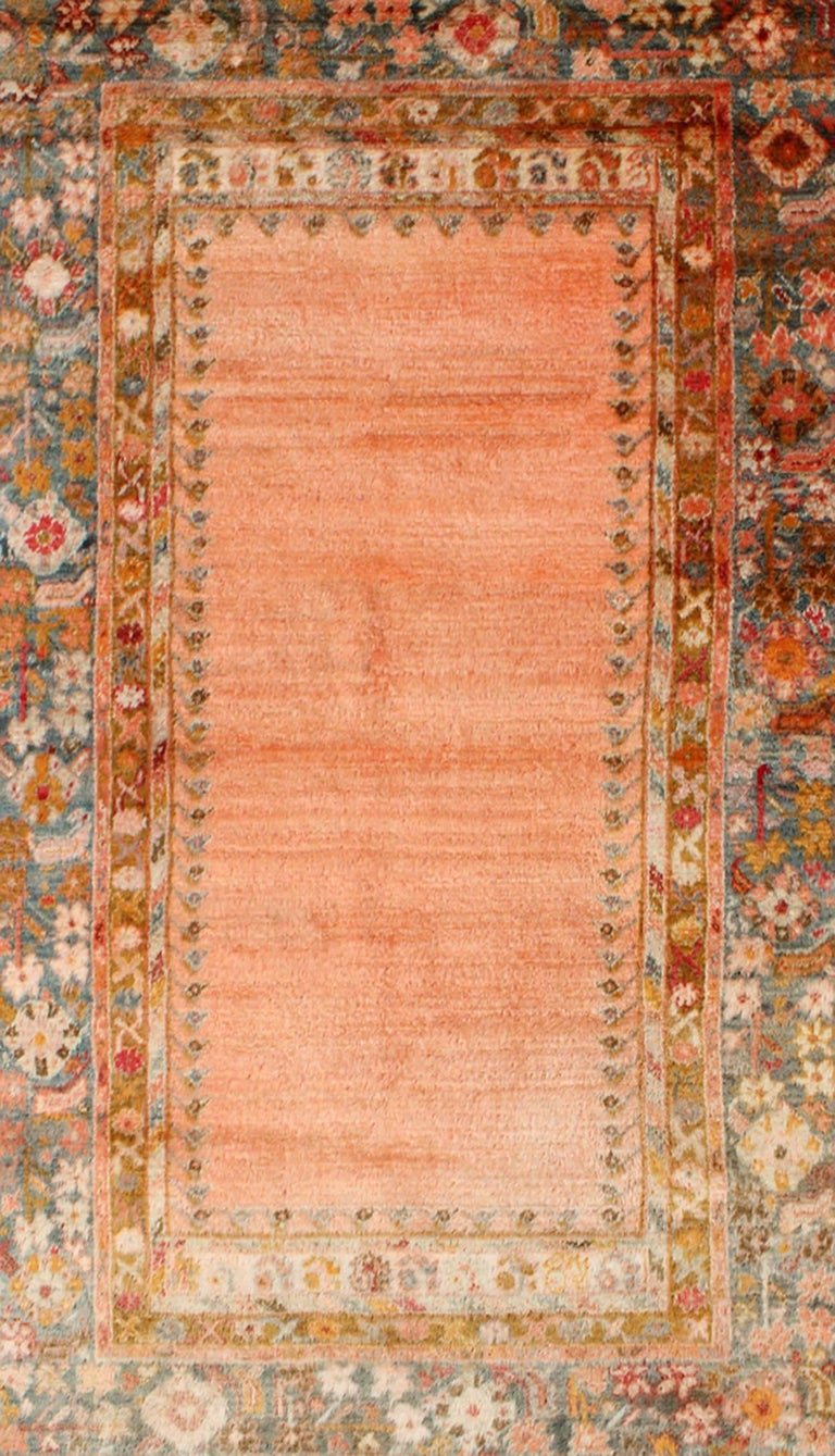 Antique Angora Wool Oushak Rug With Empty Salmon Field And